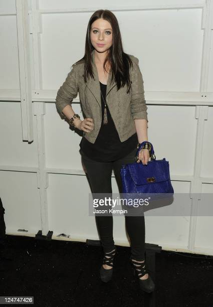 Michelle Trachtenberg poses backstage at the Rebecca Minkoff Spring 2012 fashion show during MercedesBenz Fashion Week at The Studio at Lincoln...
