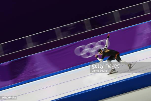 Michelle Uhrig of Germany competes during the Ladies' 1000m Speed Skating on day five of the PyeongChang 2018 Winter Olympics at Gangneung Oval on...