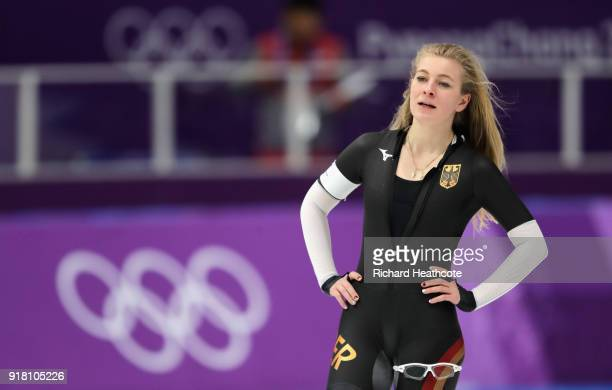 Michelle Uhrig of Germany looks on during the Ladies' 1000m Speed Skating on day five of the PyeongChang 2018 Winter Olympics at Gangneung Oval on...