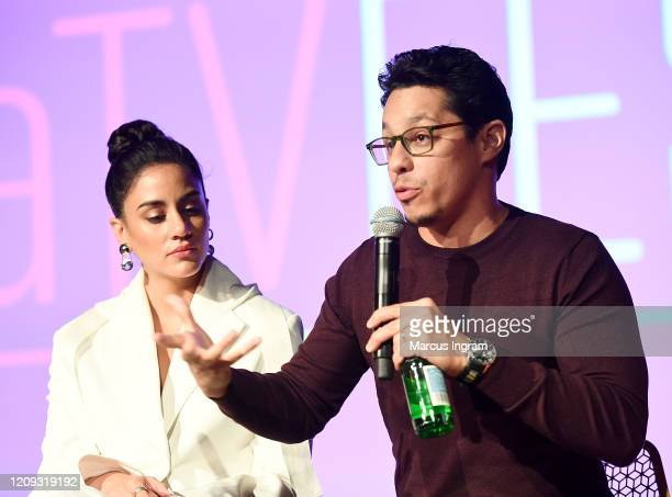 Michelle Veintimilla and David Del Rio speak onstage for SCAD aTVfest 2020 The Baker And The Beauty panel on February 28 2020 in Atlanta Georgia
