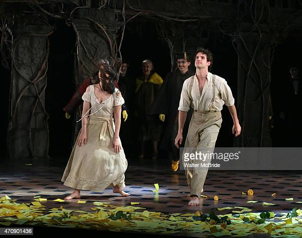 Michelle Veintimilla and John Riddle during the Broadway Opening Night Performance Curtain Call for 'The Visit' at the Lyceum Theatre on April 23...