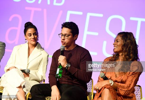 "Michelle Veintimilla, David Del Rio and Lisa Vidal, speak onstage for SCAD aTVfest 2020 - ""The Baker And The Beauty"" panel on February 28, 2020 in..."
