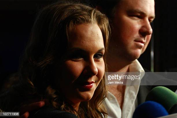 Michelle Vieth and her husband LEandro attend at the inaguration of Show Center on July 07 2010 in Mexico City Mexico