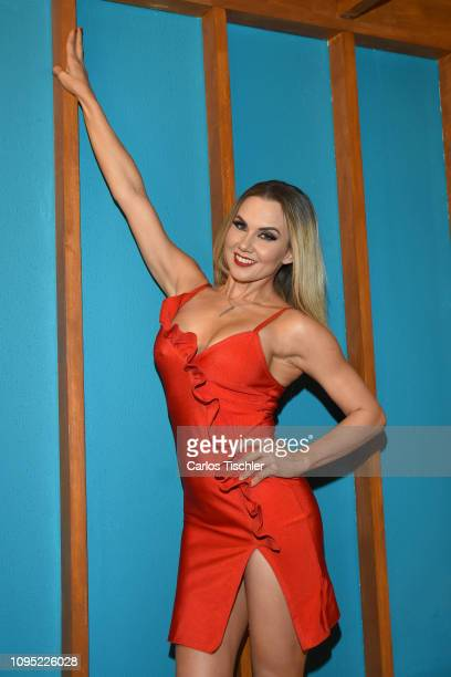 Michelle Vieth poses for photos during a press conference of MVS Cable Network to announce a new over the air TV broadcast channel on January 16 2019...