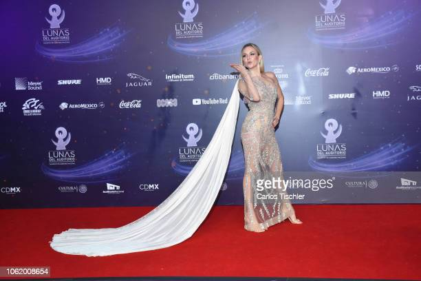 Michelle Vieth poses for photos on the red carpet before the XVII Lunas del Auditorio award ceremony at Auditorio Nacional on October 31 2018 in...