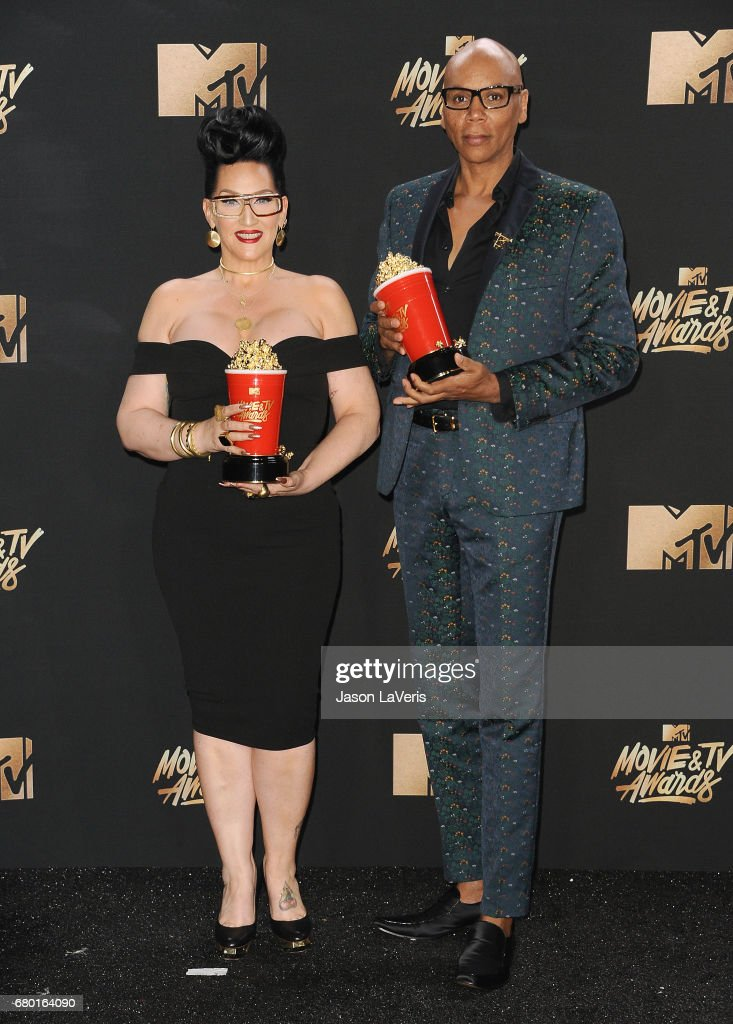 Michelle Visage and RuPaul pose in the press room at the 2017 MTV Movie and TV Awards at The Shrine Auditorium on May 7, 2017 in Los Angeles, California.