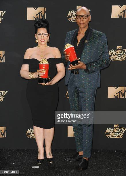 Michelle Visage and RuPaul pose in the press room at the 2017 MTV Movie and TV Awards at The Shrine Auditorium on May 7 2017 in Los Angeles California