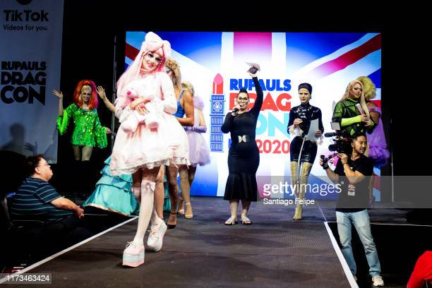 Michelle Visage and the cast of 'RuPaul's Drag Race UK' announce Dragcon UK 2020 onstage during RuPaul's DragCon 2019 at The Jacob K Javits...