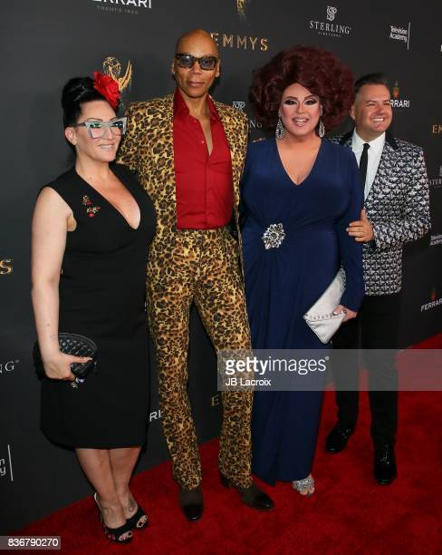 Michelle Visage from left RuPaul Delta Work and Ross Mathews attend the Television Academy's Performers Peer Group Celebration on August 22 2017 in...