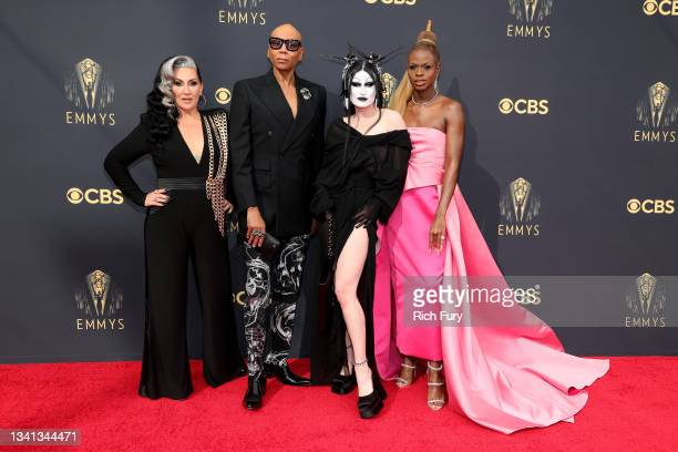 Michelle Visage, RuPaul, Gottmik, and Symone attend the 73rd Primetime Emmy Awards at L.A. LIVE on September 19, 2021 in Los Angeles, California.