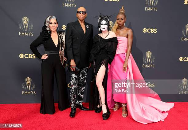 Michelle Visage, RuPaul,Gottmik and Symone attend the 73rd Primetime Emmy Awards at L.A. LIVE on September 19, 2021 in Los Angeles, California.