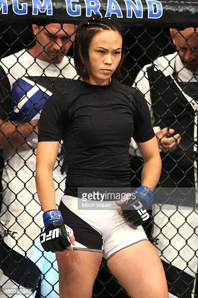 Michelle Waterson enters the Octagon for her fight against Angela Magana in their women's strawweight bout during the Ultimate Fighter Finale inside...