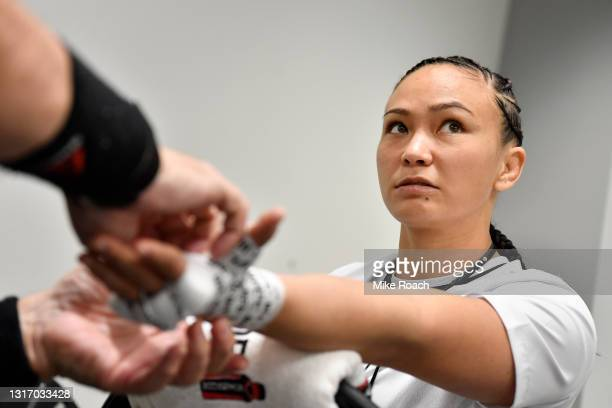 Michelle Waterson has her hands wrapped prior to her fight during the UFC Fight Night event at UFC APEX on May 08, 2021 in Las Vegas, Nevada.