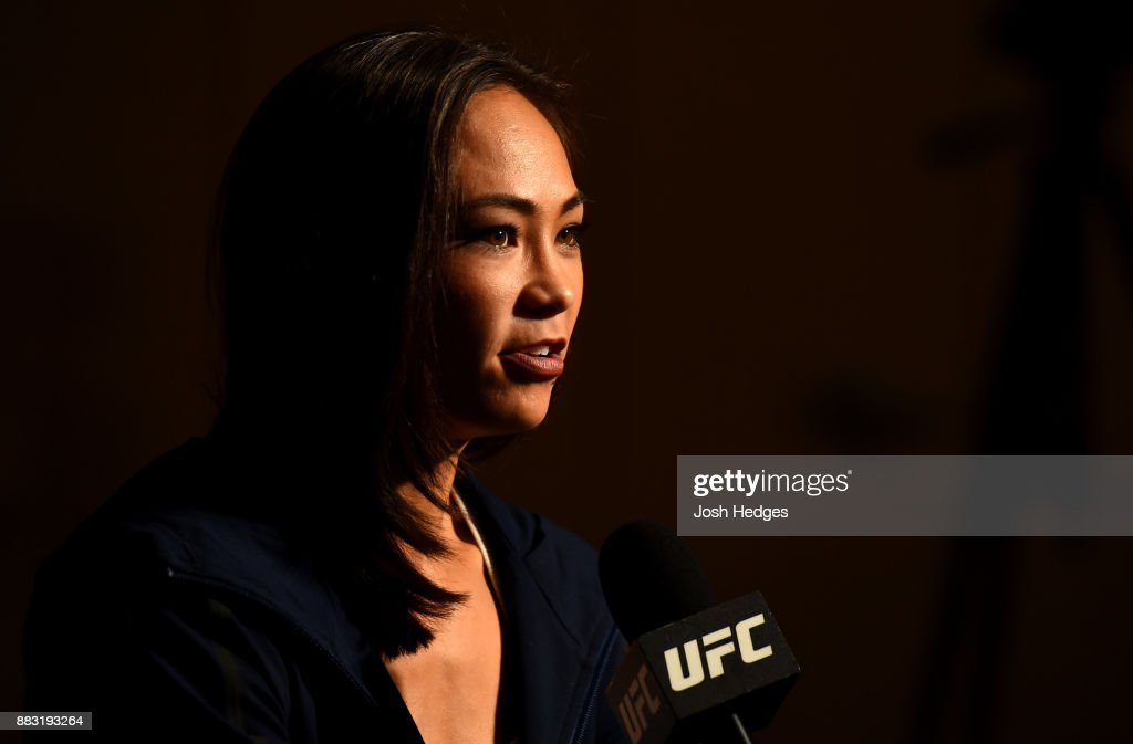 Michelle Waterson interacts with media during the UFC 218 Ultimate Media Day at the DoubleTree Hotel on November 30, 2017 in Detroit, Michigan.