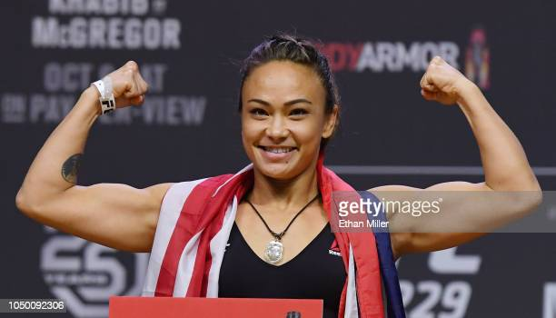 Michelle Waterson poses during a ceremonial weighin for UFC 229 at TMobile Arena on October 05 2018 in Las Vegas Nevada Waterson will fight Felice...