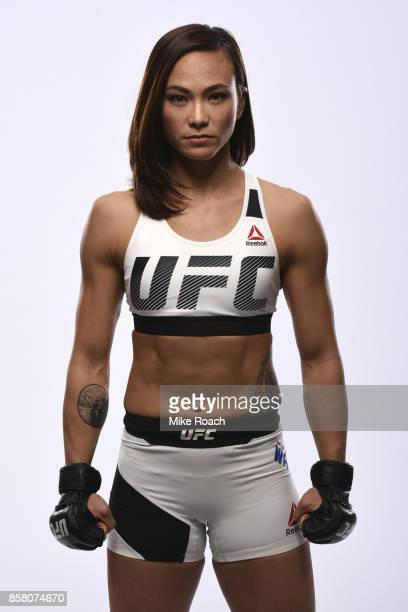 Michelle Waterson poses for a portrait during a UFC photo session inside the Kansas City Marriott Downtown on April 11 2017 in Kansas City Missouri
