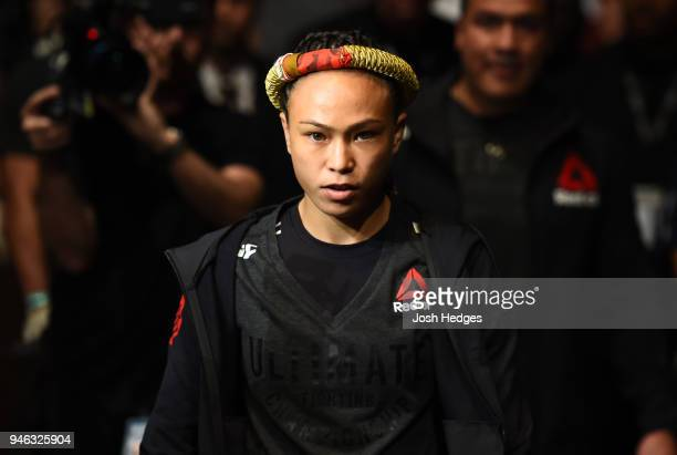 Michelle Waterson prepares to enter the Octagon before facing Cortney Casey in their womens strawweight fight during the UFC Fight Night event at the...