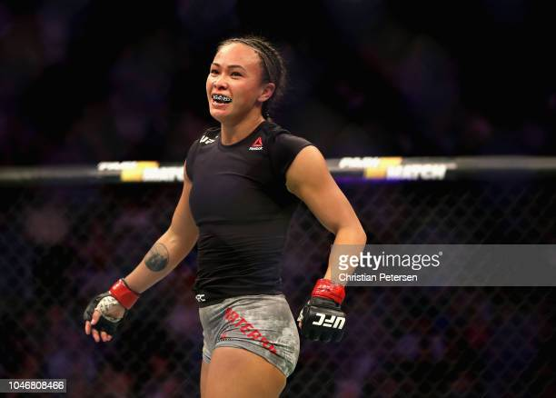 Michelle Waterson smiles after competing against Felice Herrig in their women's strawweight bout during the UFC 229 event inside TMobile Arena on...