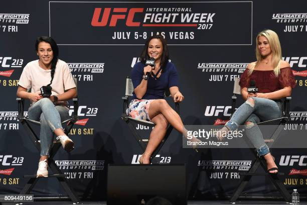 Michelle Waterson speaks to the fans during the Women of the UFC panel at Park Theater on July 5 2017 in Las Vegas Nevada
