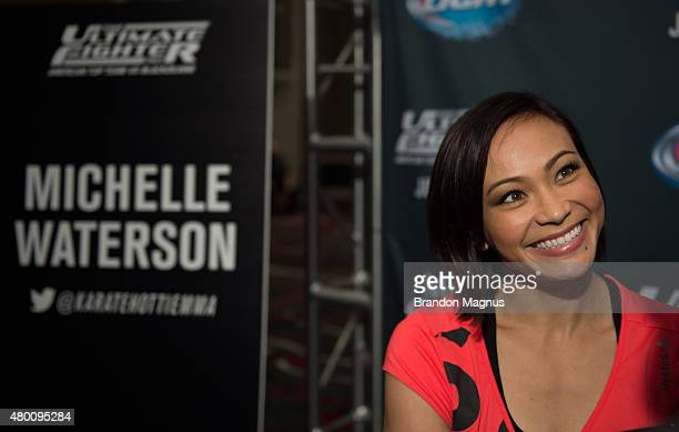 Michelle Waterson speaks to the media during the UFC 189 TUF Finale Ultimate Media Day at MGM Grand Hotel Casino on July 9 2015 in Las Vegas Nevada