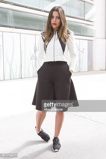 Michelle wears Aguja en el dedo total look and Nike shoes during Mercedes Benz Fashion Week during Mercedes Benz Fashion Week at Ifema on February 19...