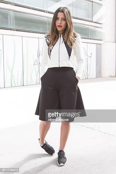 Michelle wears Aguja en el dedo total look and Nike shoes during Mercedes Benz Fashion Week during Mercedes Benz Fashion Week at Ifema on February 19...