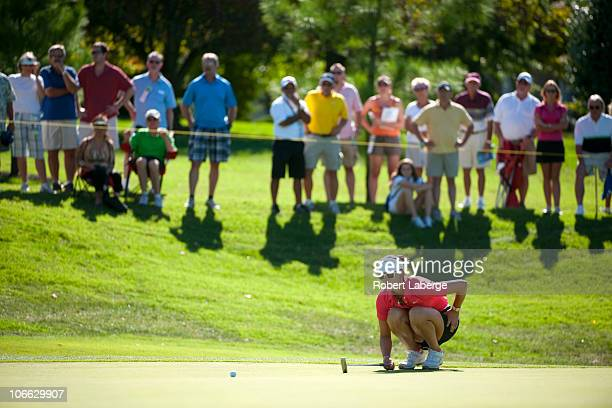 Michelle Wie aims for a putt on the 16th hole during the final round of the PG NW Arkansas Championship at the Pinnacle Country Club on September 12...