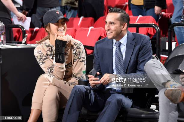 Michelle Wie and Jonnie West attend Game Four of the Western Conference Finals between the Golden State Warriors and the Portland Trail Blazers on...