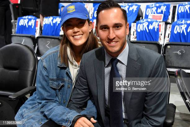 Michelle Wie and Jonnie West attend Game Six of Round One between the Golden State Warriors and the LA Clippers during the 2019 NBA Playoffs on April...
