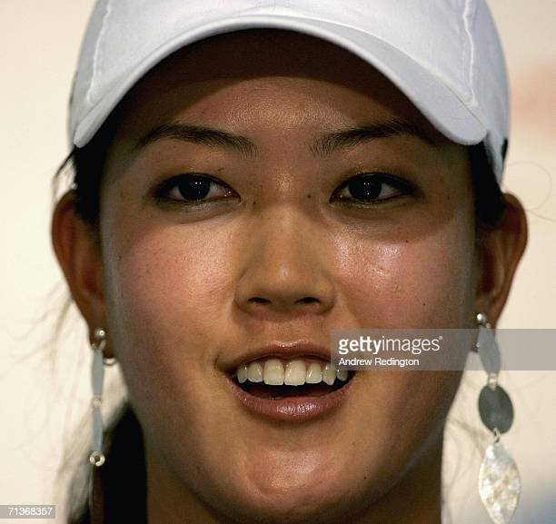 Michelle Wie attends a press conference after practice for The HSBC Women's World Match Play Championship on The Highlands Course at Hamilton Farm...