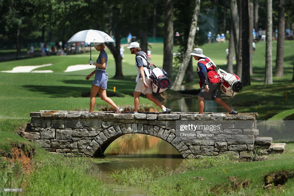 Michelle Wie crosses the second hole bridge during the third round of the 2018 U.S. Women's Open at Shoal Creek on June 2, 2018 in Shoal Creek, Alabama.