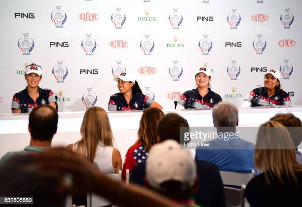Michelle Wie Danielle Kang Angel Yin and Lizette Salas of Team USA laugh during a press conference for the Solheim Cup at the Des Moines Golf and...