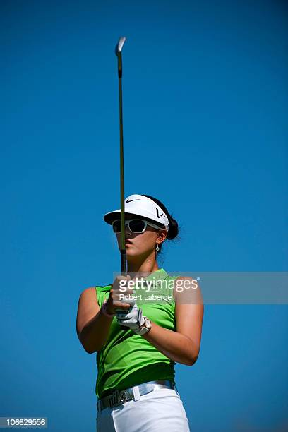 Michelle Wie hits a tee shot during the second round of the PG NW Arkansas Championship at the Pinnacle Country Club on September 11 2010 in Rogers...