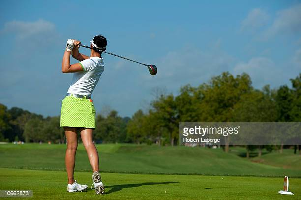 Michelle Wie hits a tee shot on the fourth hole during the first round of the PG NW Arkansas Championship at the Pinnacle Country Club on September...