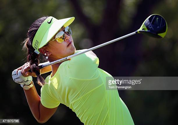 Michelle Wie hits a tee shot on the seventh hole during Round Three of the 2015 Volunteers of America North Texas Shootout Presented by JTBC at Las...