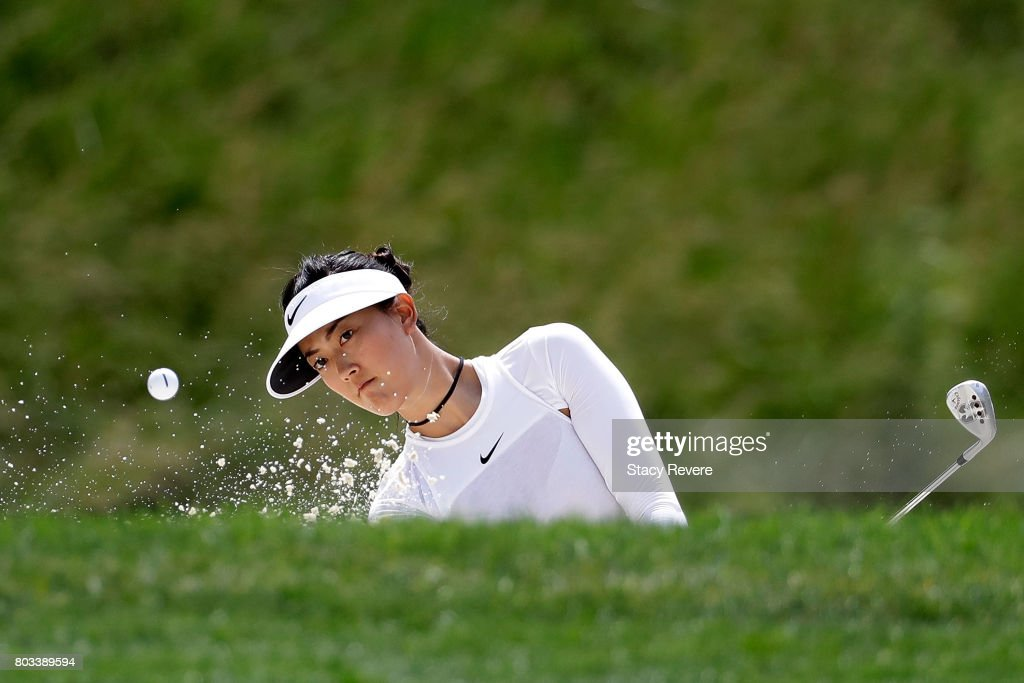 Michelle Wie hits from a green side bunker on the seventh hole during the first round of the 2017 KPMG PGA Championship at Olympia Fields Country Club on June 29, 2017 in Olympia Fields, Illinois.