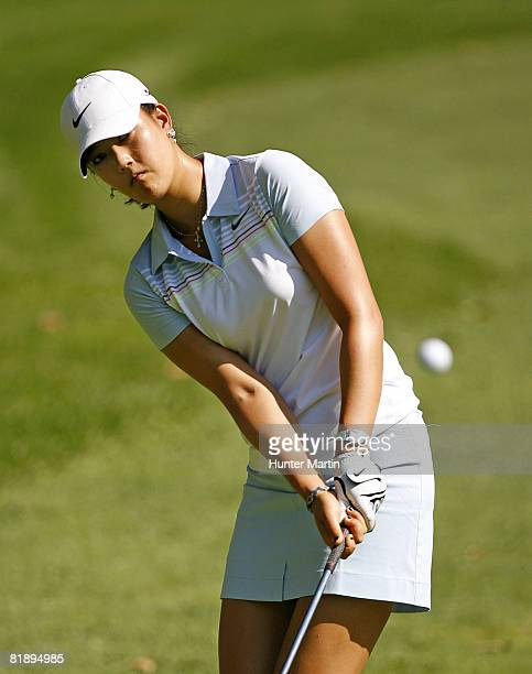 Michelle Wie hits her fourth shot on the 11th hole during the first round of the Jamie Farr Owens Corning Classic at Highland Meadows Golf Club on...