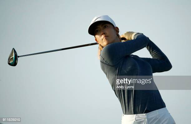 Michelle Wie hits her tee shot on the 16th hole during the final round of the Pure Silk Bahamas LPGA Classic at the Ocean Golf Course on January 28...