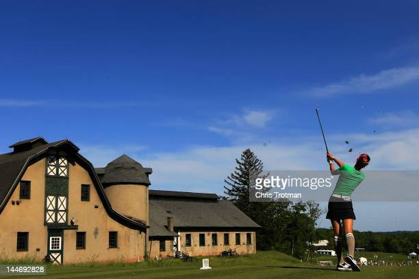 Michelle Wie hits her tee shot on the 16th hole in the first round of the Sybase Match Play Championship at Hamilton Farm Golf Club on May 17 2012 in...