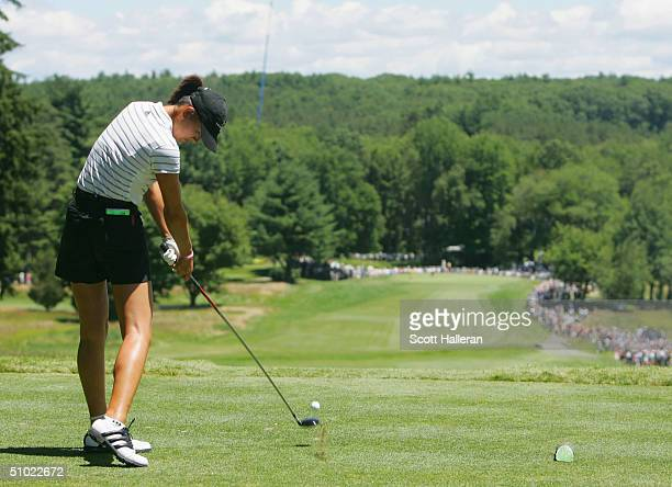 Michelle Wie hits her tee shot on the first hole during the third round of the US Women's Open at the Orchards Golf Club on July 3 2004 in South...