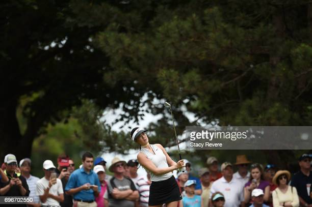 Michelle Wie hits her tee shot on the second hole during the second round of the Meijer LPGA Classic at Blythefield Country Club on June 16 2017 in...
