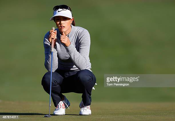 Michelle Wie lines up a putt during Round One of the North Texas LPGA Shootout Presented by JTBC at the Las Colinas Country Club on May 1 2014 in...