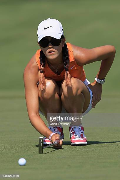 Michelle Wie lines up a putt on the fourth hole in the first round of the Manulife Financial LPGA Classic at Grey Silo Golf Course on June 21 2012 in...