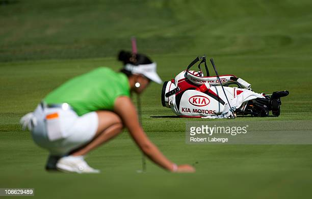 Michelle Wie lines up her putt during the second round of the PG NW Arkansas Championship at the Pinnacle Country Club on September 11 2010 in Rogers...