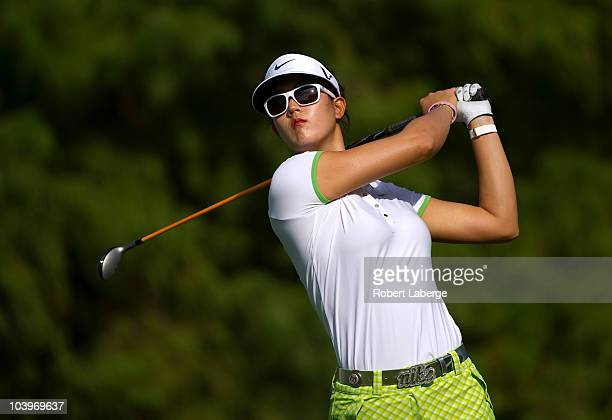 Michelle Wie makes a tee shot during the first round of the PG NW Arkansas Championship at the Pinnacle Country Club on September 10 2010 in Rogers...