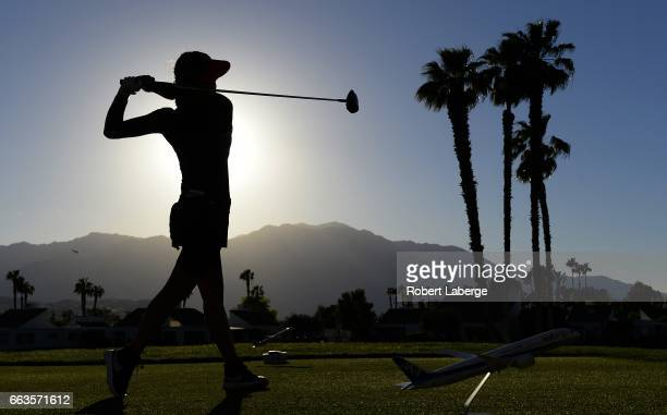 Michelle Wie makes a tee shot on the 18th hole during the third round of the ANA Inspiration on the Dinah Shore Tournament Course at Mission Hills...