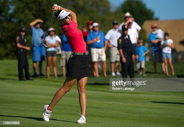 Michelle Wie makes an approach shot on the 18th hole during the final round of the PG NW Arkansas Championship at the Pinnacle Country Club on...