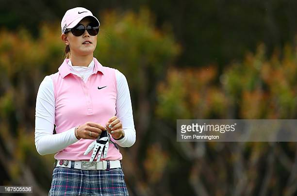 Michelle Wie of Honolulu Hawaiiprepares to hit a shot during the first round of the 2013 North Texas LGPA Shootout at the Las Colinas Country Club on...