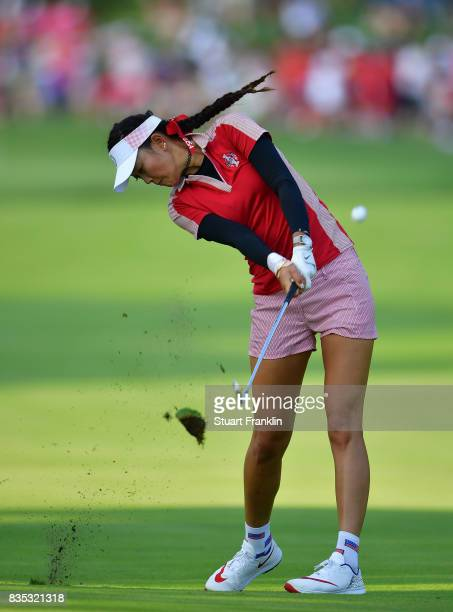 Michelle Wie of Team USA plays a shot during the afternoon fourball matches of The Solheim Cup at Des Moines Golf and Country Club on August 18 2017...