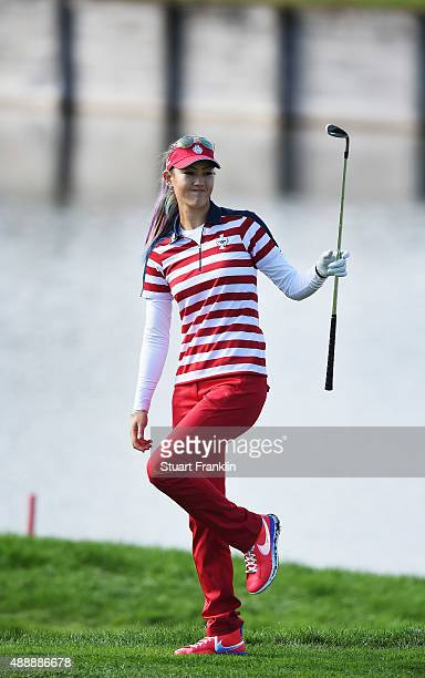 Michelle Wie of team USA reacts to a shot during the morning foursomes The Solheim Cup at St LeonRot Golf Club on September 18 2015 in St LeonRot...